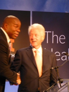 Magic Johnson gave President  Clinton a rousing introduction